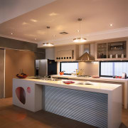 A view of a kitchen area, wooden flooring, cabinetry, ceiling, countertop, cuisine classique, interior design, kitchen, room, brown, orange
