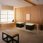 view of the sleek bathrom showing timer  bathroom, floor, flooring, interior design, product design, room, tile, brown, gray