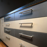 An example of an afoordable new kitchen from architecture, countertop, furniture, glass, kitchen, product design, wall, black