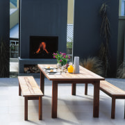 A view of a patio area, white and coffee table, furniture, interior design, table, black