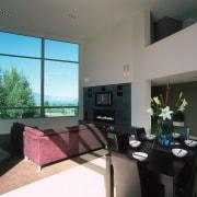A view of the living area, white walls, architecture, condominium, interior design, living room, real estate, room, window, gray, black