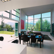 A view of the dining area, concrete tiled architecture, daylighting, house, interior design, real estate, window, white, gray