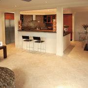 A view of a kitchen area, cream tiled floor, flooring, hardwood, home, interior design, laminate flooring, living room, property, real estate, room, tile, wood, wood flooring, orange, brown