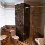 view of the winning bathroom with dark brown bathroom, floor, home, interior design, plumbing fixture, room, brown
