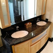 view of the timber vanity with black marble bathroom, countertop, interior design, room, sink, black, orange