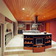 A view of a kitchen area, cream tiled cabinetry, ceiling, countertop, cuisine classique, flooring, hardwood, interior design, kitchen, real estate, room, brown