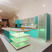 A view of a kitchen area, white tiled countertop, interior design, kitchen, gray