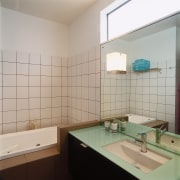 view of the bathroom that recieves an abundance bathroom, daylighting, floor, interior design, product design, room, sink, tile, gray