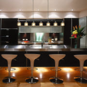 An example of the different styles and types countertop, furniture, interior design, kitchen, lighting, table, black, brown, gray