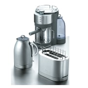 A view of some stainless steel appliances. - coffeemaker, espresso machine, food processor, home appliance, kitchen appliance, mixer, product, product design, small appliance, white