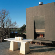 view of this outdoor fire place located on architecture, furniture, table