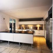 A view of a kitchen area, grey concrete cabinetry, ceiling, countertop, cuisine classique, interior design, kitchen, gray