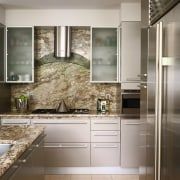 A view of a kitchen area, tiled floor, cabinetry, countertop, cuisine classique, home appliance, interior design, kitchen, gray, brown