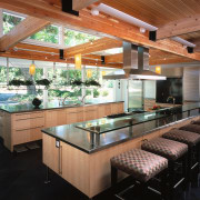 view of the kitchen showing stainless steel benchtops countertop, interior design, kitchen, real estate, black
