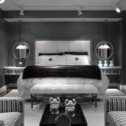 view of the colourless master bedroom featuring vinyl bed frame, bedroom, ceiling, furniture, interior design, room, wall, black, gray