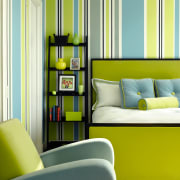 the bold colours in this guest room instantly furniture, home, interior design, living room, room, shelf, shelving, wall, window, yellow, yellow