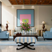 view of sthe lobby featuring pale blue furniture ceiling, furniture, interior design, living room, lobby, room, table, wall, gray