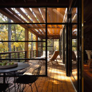 view of this open plan deck that look architecture, home, house, interior design, real estate, window, wood, black, brown