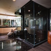 A view of the bathroom, black tiled floor door, furniture, glass, interior design, black