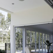 A view of the different lighting options for architecture, ceiling, daylighting, home, house, interior design, window, gray