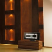 another new development from phillipsis the waveless music cabinetry, floor, flooring, furniture, hardwood, interior design, lighting, living room, wall, wood, wood stain, brown