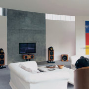 speakers in this living area are from the hearth, interior design, living room, room, wall, gray