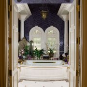 view of the diamond shaped glass mosaic tiles ceiling, door, estate, home, house, interior design, room, window, gray, brown