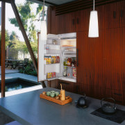 A view of a kitchen by David Hertz architecture, house, interior design, real estate, red
