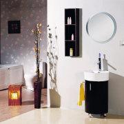 this circular winge vanity, with built in sink bathroom, bathroom accessory, bathroom cabinet, ceramic, interior design, plumbing fixture, product design, room, sink, tap, white