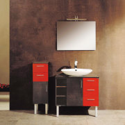 view of this kidney shaped island finished in bathroom, bathroom accessory, bathroom cabinet, chest of drawers, drawer, floor, furniture, interior design, product, product design, sink, wall, brown