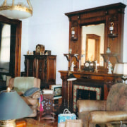 The homes lounge and living area prior to antique, chair, furniture, home, interior design, living room, room, table, white