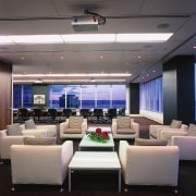 A view of the boardroom and lounge, white ceiling, conference hall, interior design, gray, black