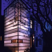 Architect David Jameson modern insertion into this row architecture, building, darkness, evening, facade, home, house, light, lighting, night, reflection, sky, structure, window, black, blue