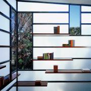 Architect David Jameson modern insertion into this row architecture, bookcase, daylighting, furniture, glass, house, interior design, shelf, shelving, window, white