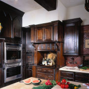 the oven tower is one of the only cabinetry, countertop, cuisine classique, interior design, kitchen, room, black, gray