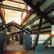 A view of the beams in the ceiling. architecture, daylighting, structure, tourist attraction, black