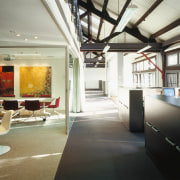 A view of the communal area. - A ceiling, interior design, lobby, loft, black, white