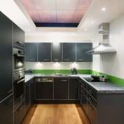 An example of kitchen displays within Harvey Norman cabinetry, countertop, interior design, kitchen, room, under cabinet lighting, black, white