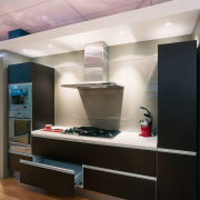 An example of the kitchen displays within Harvey cabinetry, ceiling, countertop, interior design, kitchen, gray, black