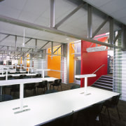 A view of the work stations. - A ceiling, interior design, white, gray