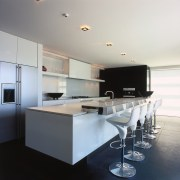 A view of the kitchen, black tiled floor, countertop, interior design, kitchen, product design, white, gray