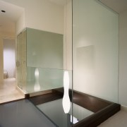 A view of the guest bathroom shower. - architecture, ceiling, daylighting, floor, glass, house, interior design, wood, gray