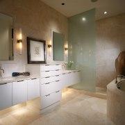 A view of the bathroom, tiled floor and bathroom, cabinetry, countertop, floor, flooring, interior design, room, sink, tile, brown, gray
