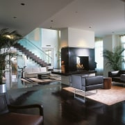 A view of the lounge area, wooden flooring, ceiling, floor, furniture, home, interior design, living room, lobby, room, table, gray, black