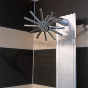 A view of a shower head. - A lighting, product design, black