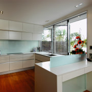 An example of the products used by The architecture, cabinetry, countertop, house, interior design, kitchen, property, real estate, room, window, gray