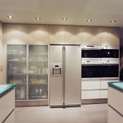 Hansen designed and manufactured this kitchen using glass cabinetry, countertop, home appliance, interior design, kitchen, major appliance, refrigerator, gray