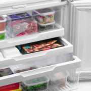 Examples of the new Fisher & Paykel technology frozen food, home appliance, kitchen appliance, major appliance, plastic, product, refrigerator, shelf, shelving, white