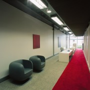 A view of the reception area, carpet, grey architecture, ceiling, daylighting, floor, interior design, black