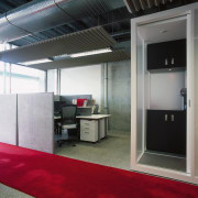 A view of the offices, red carpet and ceiling, interior design, gray, black